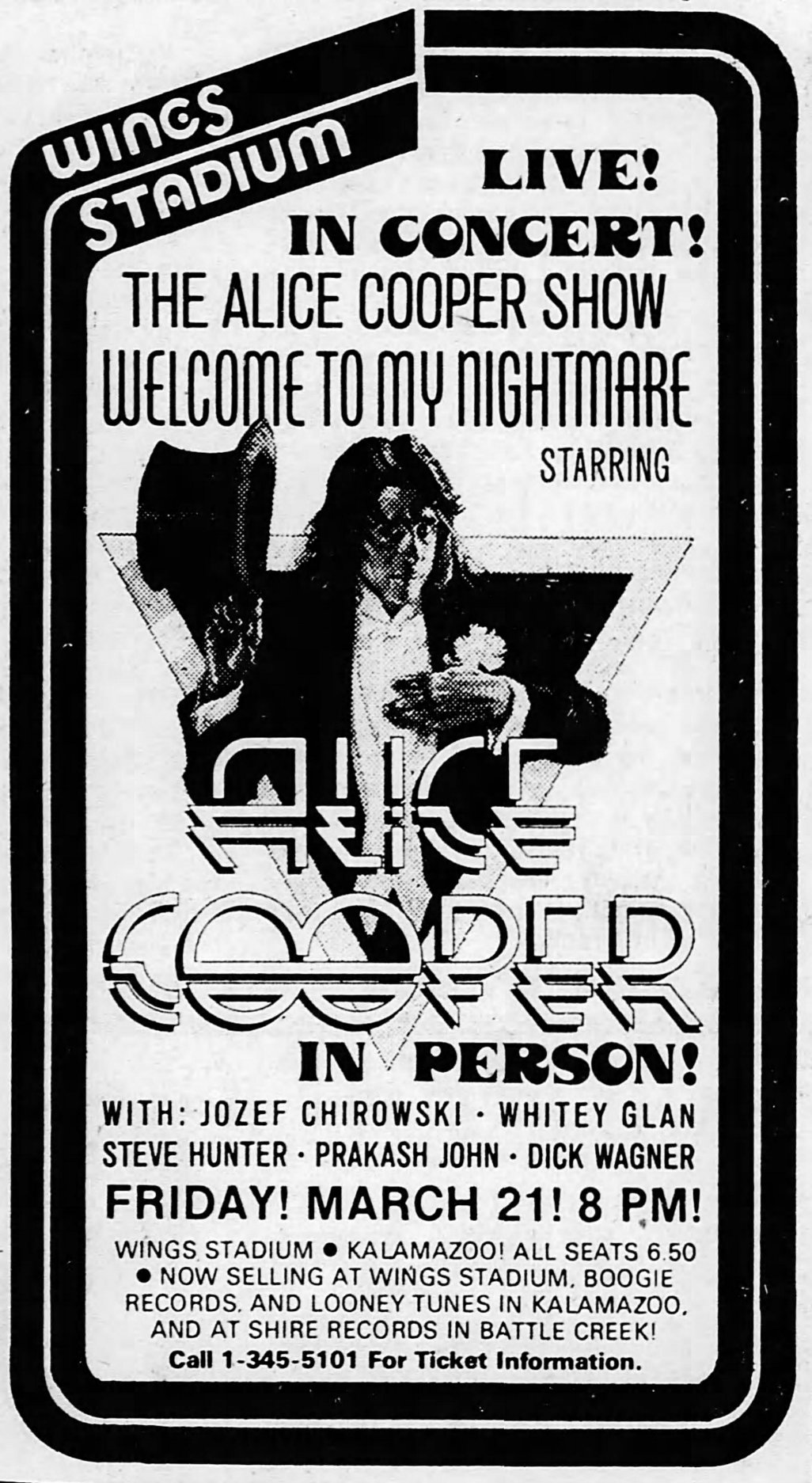 The Alice Cooper Show Europe Tour 72/' Print 11 X 17  Poster /& Sleeve
